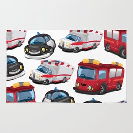 Fire, Police and Ambulance toy car pattern Rug