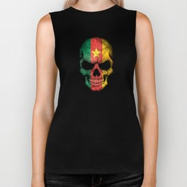 Dark Skull with Flag of Cameroon Biker Tank