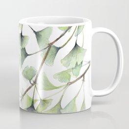 Mint Green Ginkgo Leaves and Green Goldfish Watercolor Design Coffee Mug