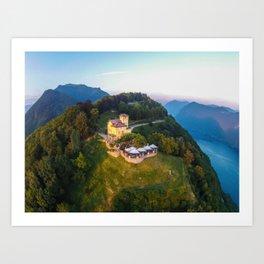 Mount Bre, Lugano, Switzerland Alpine Mountaintop Resort Restaurant lakeside photograph Art Print