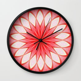 Star White And Red Kaleidoscope Floral Mandala Wall Clock