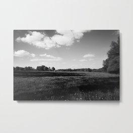 meadow barn clouds bw Metal Print