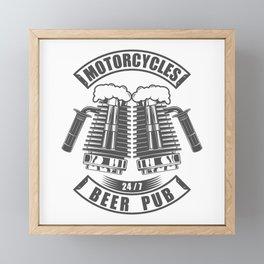 Beer pub emblem in vintage monochrome motorcycle style Framed Mini Art Print