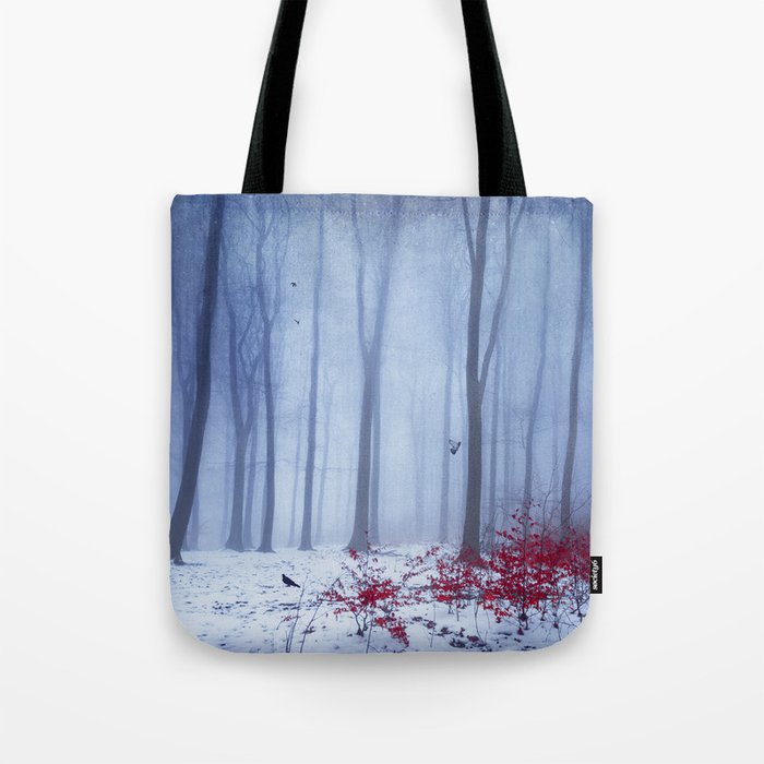 winter forest with birds Tote Bag