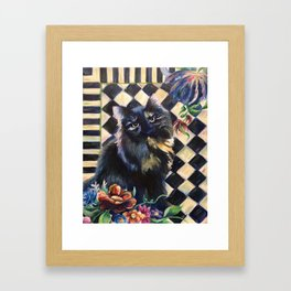 Cat Portrait in the Style of Mackenzie-Childs Framed Art Print