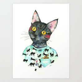 Freya- Hipster Cat Portrait Art Print