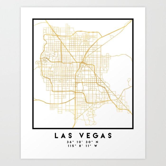 LAS VEGAS NEVADA CITY STREET MAP ART Art Print by deificusart | Society6
