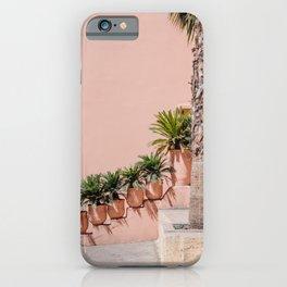 Palms on pink Marrakesh wall lV | Moroccan travel photography Art Print Art Print iPhone Case