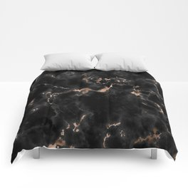 Rose Gold and Black Marble Comforters
