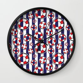 Nautical Red and White Lifebelts on Navy Blue Stripes Wall Clock