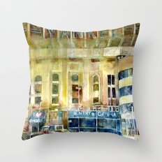The Old Yankee Stadium Watercolor Throw Pillow