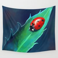 ladybug Wall Tapestries featuring Ladybug by Freeminds