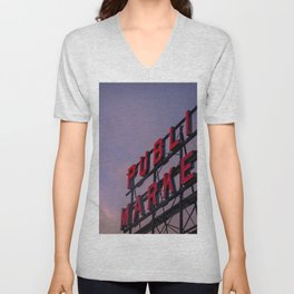 Pike Place Neon Sunrise Unisex V-Neck