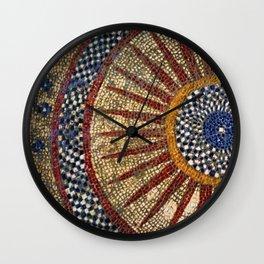 Ancient Roman Tesserae Sun Gems, Glass, & Stone Mosaic Tile Relief Wall Clock