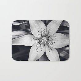 Black and White Lily Flower Photography, Grey Floral Art, Lillies Photo, Grey Lilly Nature Print Bath Mat