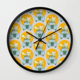 Frenchie's summer road trip Wall Clock