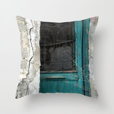 Blue Green Door Throw Pillow