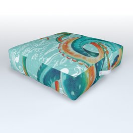 Teal Octopus On Light Teal Vintage Map Outdoor Floor Cushion
