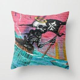 Sailing Skeleton  Throw Pillow