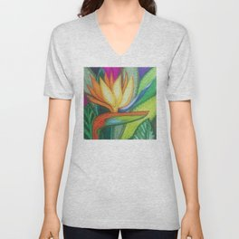 Bird of Paradise Quilt Square Note Unisex V-Neck