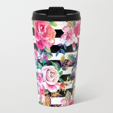 Cute spring floral and stripes watercolor pattern Travel Mug