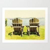 Adirondack Chairs, Maine Art Print