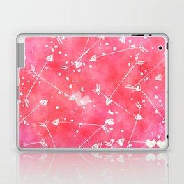 Hearts Stars Arrows Pink Watercolor Background Laptop & iPad Skin