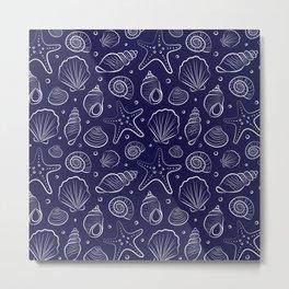 Sea shells illustration. Navy blue and white. Summer ocean beach print. Metal Print