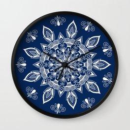 RB Mandala Design with botanical elements Wall Clock