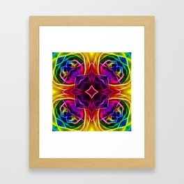 Rainbow Rose Kaleidoscope Mandala Framed Art Print