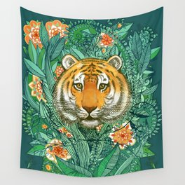 Tiger Tangle in Color Wall Tapestry