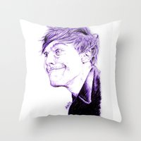 louis tomlinson Throw Pillows featuring Louis Tomlinson by Drawpassionn