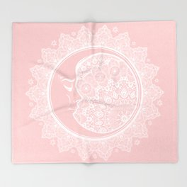 Mandala Moon Pink Throw Blanket