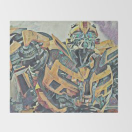 Bumblebee Surprised Artistic Illustration Colored Pencils Lines Style Throw Blanket