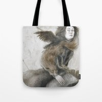 inner demons Tote Bags featuring Demons by Jana Heidersdorf Illustration