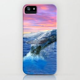 Breaching Humpback Whale at Sunset iPhone Case