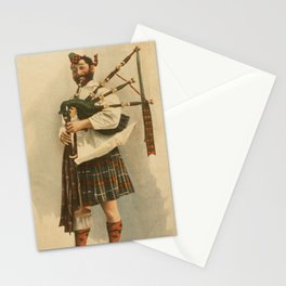 Vintage Illustration of a Scottish Bagpiper (1898) Stationery Cards