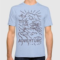 Time For Adventure Tri-Blue SMALL Mens Fitted Tee
