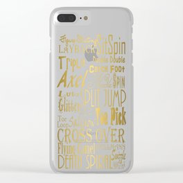 Figure Skating Subway Style Typographic Design Gold Foil Clear iPhone Case