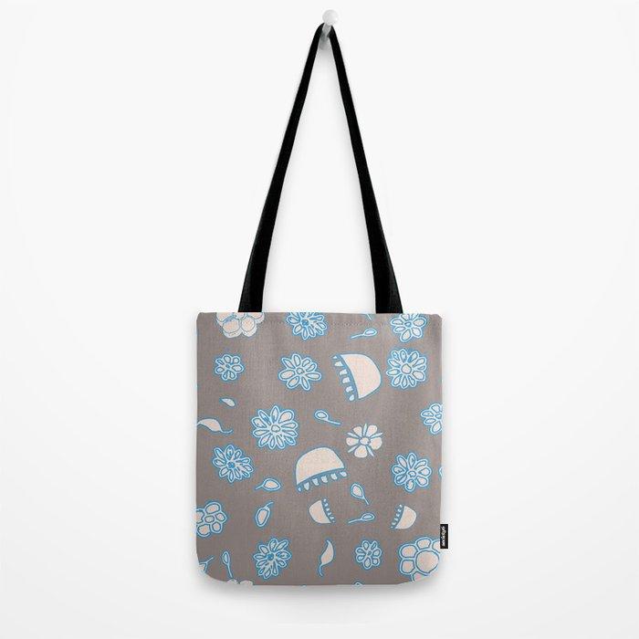 Flower border blue Tote Bag