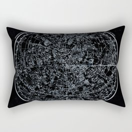 Constellations of Northern Hemisphere   White Ink on Black Archival Paper Rectangular Pillow