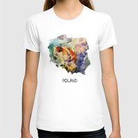 poland T-shirts featuring Map of Poland watercolor by jbjart