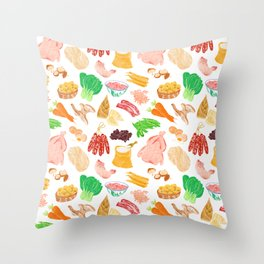 Illustration of a collection of Chinese ingredients Throw Pillow