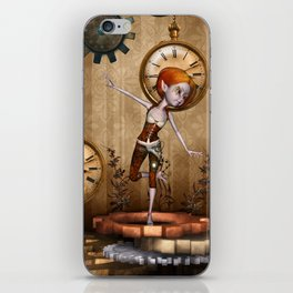 Cute little steampunk girl with clocks and gears iPhone Skin
