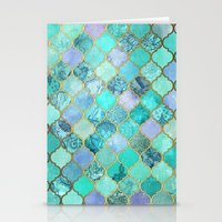 moroccan Stationery Cards featuring Cool Jade & Icy Mint Decorative Moroccan Tile Pattern by micklyn
