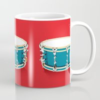 drum Mugs featuring Drum - Red by Ornaart