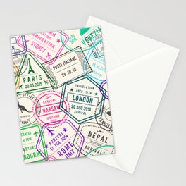 Passport to Adventure Vintage Style Travel Stamps Pattern Stationery Cards