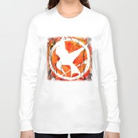 mockingjay Long Sleeve T-shirts featuring The Mockingjay by Trinity Bennett