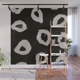 Round, Abstract, White & Black Wall Mural