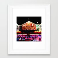 haunted mansion Framed Art Prints featuring Carnival Haunted Mansion by Teresa Marra